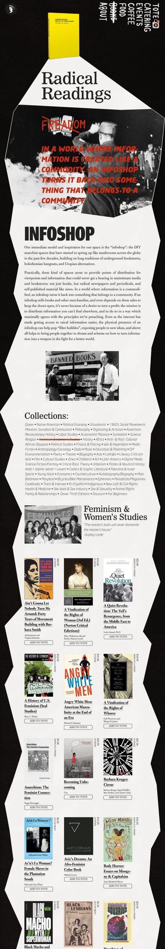 Red Emma's website redesign mock-up for infoshop.