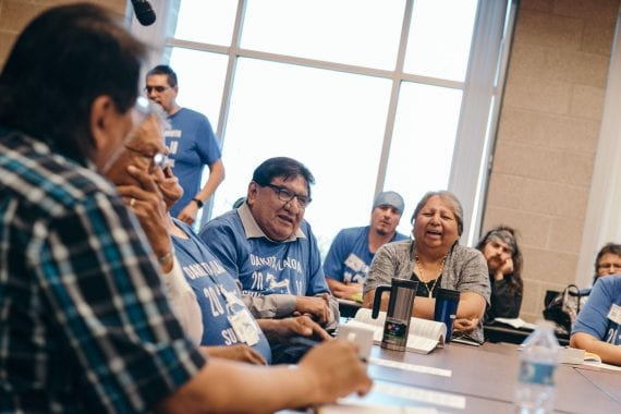 Elders speaking during Lakota language workshop