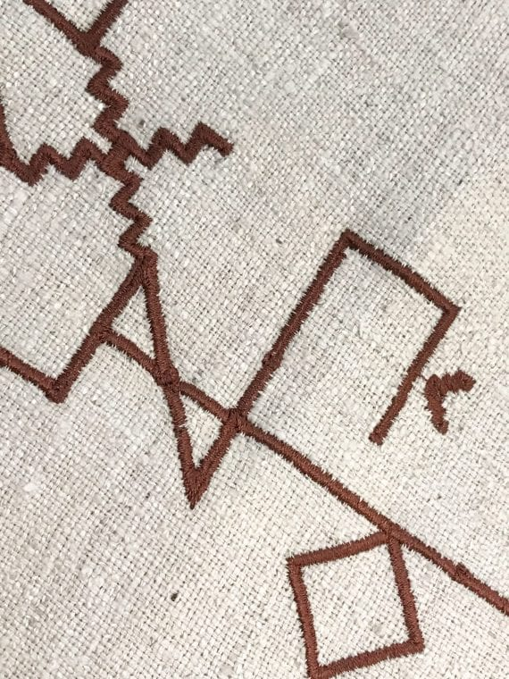 Lakota Letterforms digitally embroidered on Fabric