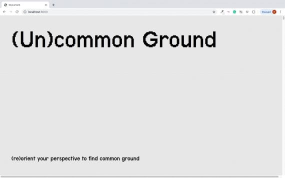 (Un)common Ground Web Publication Screenshot