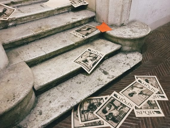 SPQR fliers distributed on Cenci stairs